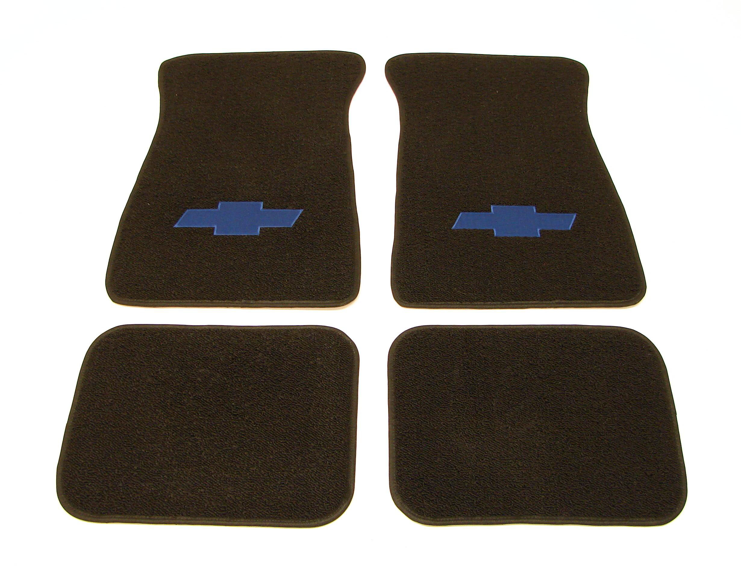 1967 1968 1969 camaro floor mats black w blue bow tie